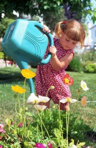 Little girl watering, John Silva, The Fix-It Professionals